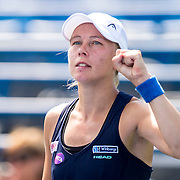 August 25, 2016, New Haven, Connecticut: <br /> Johanna Larsson of Sweden reacts after winning a match against Roberta Vinci of Italy on Day 7 of the 2016 Connecticut Open at the Yale University Tennis Center on Thursday, August  25, 2016 in New Haven, Connecticut. <br /> (Photo by Billie Weiss/Connecticut Open)