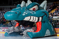 KELOWNA, CANADA - FEBRUARY 10: Kyle Topping #24 of the Kelowna Rockets enters the ice through Ogi at the start of the game against the Vancouver Giants on February 10, 2017 at Prospera Place in Kelowna, British Columbia, Canada.  (Photo by Marissa Baecker/Shoot the Breeze)  *** Local Caption ***