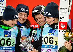 Second placed team of Slovenia: Spela Rogelj, Jerneja Brecl, Ursa Bogataj and Nika Kriznar celebrate during Trophy ceremony after the Team Competition at Day 2 of World Cup Ski Jumping Ladies Ljubno 2019, on February 9, 2019 in Ljubno ob Savinji, Slovenia. Photo by Matic Ritonja / Sportida