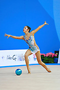 "Agiurgiuculese Alexandra during ball routine at the International Tournament of rhythmic gymnastics ""Città di Pesaro"", 03 April,2016. Alexandra is an Italian individualistic gymnast, of Romanian origins, born in Lasi, 15 January, 2001.<br />