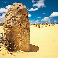Unusual large stones in sandy landscape