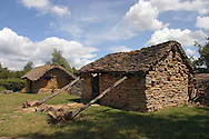 Reconstuction of a fortified Bronze Age dwelling at L'Archeodrome de Bourgogne.