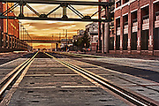 Shot of railroad tracks at sunrise in downtown Phoenix, AZ