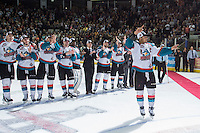 KELOWNA, CANADA - MAY 13: Madison Bowey #4 of Kelowna Rockets skates forward to accept the WHL Championship trophy on May 13, 2015 during game 4 of the WHL final series at Prospera Place in Kelowna, British Columbia, Canada.  (Photo by Marissa Baecker/Shoot the Breeze)  *** Local Caption *** Madison Bowey;