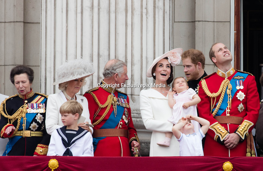 LONDON - UK - 11th June 2016: Members of the British royal family join HM Queen Elizabeth II and HRH The Duke of Edinburgh for the annual Trooping The Colour ceremony in London.<br /> The Queen joined by many members of the family including HRH The Prince of Wales, with HRH The Duchess of Cornwall, The Duke and Duchess of Cambridge, Prince Harry, Prince Edward and HRH The Countess of Wessex, Prince Andrew, Princess Beatrice and Princess Eugenie.<br /> &copy;Ian Jones/Exclusivepix Media