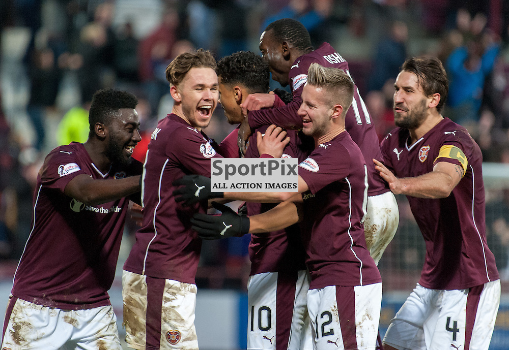 Heart of Midlothian celebrations for #10 Osman Sow's (Heart of Midlothian) strike ¥ Heart of Midlothian v Celtic ¥ Ladbrokes Premiership ¥ 27 December 2015 ¥ © Russel Hutcheson | SportPix.org.uk