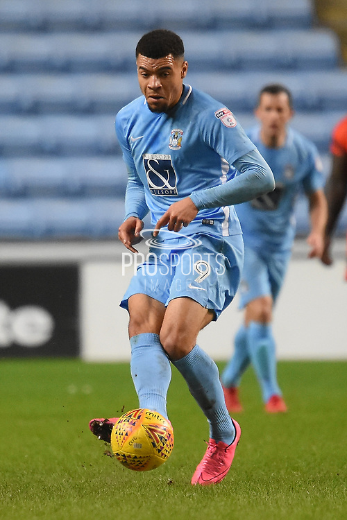Coventry City striker Maxime Biamou (9) plays a pass 2-0 during the EFL Sky Bet League 2 match between Coventry City and Wycombe Wanderers at the Ricoh Arena, Coventry, England on 22 December 2017. Photo by Alan Franklin.