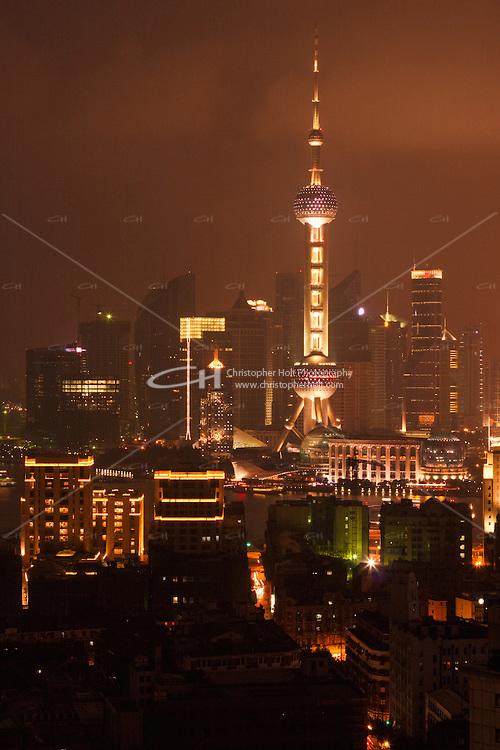 Oriental Pearl viewed at night in Shanghai China