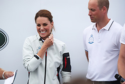 The Duke of Cambridge and The Duchess of Cambridge ahead of the prize giving for the King's Cup regatta at Cowes on the Isle of Wight. The royal couple went head to head in the regatta in support of their charitable causes.