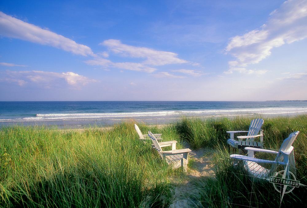 Adirondack chairs at beach