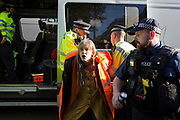 A climate change protester is detained by police officers in Whitehall, on 14th November 2018, in London, England. (Photo by Richard Baker / In Pictures via Getty Images)