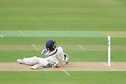 Stephen Eskinazi of Middlesex ends up on the floor after facing a delivery from Brad Wheal of Hampshire during the Specsavers County Champ Div 1 match between Hampshire County Cricket Club and Middlesex County Cricket Club at the Ageas Bowl, Southampton, United Kingdom on 14 April 2017. Photo by David Vokes.