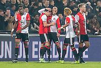 ROTTERDAM - Feyenoord - Vitesse , Voetbal , Eredivisie , Seizoen 2016/2017 , De Kuip , 16-12-2016 , Feyenoord speler Steven Berghuis viert zijn goal en krijgt felicitaties van Feyenoord speler Terence Kongolo (l) en Feyenoord speler Karim El Ahmadi (3e l)