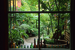 Looking out through the window on to the patio and garden beyond. Old beer bottles used to decorate the window sill.
