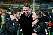Norwich City Manager Daniel Farke celebrates promotion to the Premier League after the EFL Sky Bet Championship match between Norwich City and Blackburn Rovers at Carrow Road, Norwich, England on 27 April 2019.