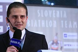 Tomaz Sustersic at press conference of Slovenian Biathlon National Team before new season 2008/2009, on November 24, 2008 in Emporium, BTC, Ljubljana, Slovenia.  (Photo by Vid Ponikvar / Sportida)