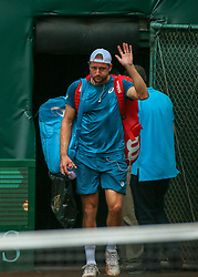 April 13, 2018 - Houston, TX, U.S. - HOUSTON, TX - APRIL 13:  Tennys Sandgren of the United States enters the court in the match against Guido Pella of Argentina during the Quarterfinal round of the Men's Clay Court Championship on April 13, 2018 at River Oaks Country Club in Houston, Texas.  (Photo by Leslie Plaza Johnson/Icon Sportswire) (Credit Image: © Leslie Plaza Johnson/Icon SMI via ZUMA Press)