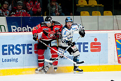 01.03.2015, Ice Rink, Znojmo, CZE, EBEL, HC Orli Znojmo vs EHC Black Wings Linz, 53. Runde, im Bild v.l. Jiri Beroun (HC Orli Znojmo) Curtis Murphy (Linz ) // during the Erste Bank Icehockey League 53th round match between HC Orli Znojmo and EHC Black Wings Linz at the Ice Rink in Znojmo, Czech Republic on 2015/03/01. EXPA Pictures © 2015, PhotoCredit: EXPA/ Rostislav Pfeffer