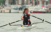 Henley. United Kingdom. GBR W1X, Guin BATTEN, competing in the Princess Royal Sculls Challenge and the FISA World Cup event. Men and Women's single Sculls at the 1995 Henley Royal Regatta. Henley Reach, England.<br /> <br /> {Mandatory Credit: Peter SPURRIER/Intersport Images]