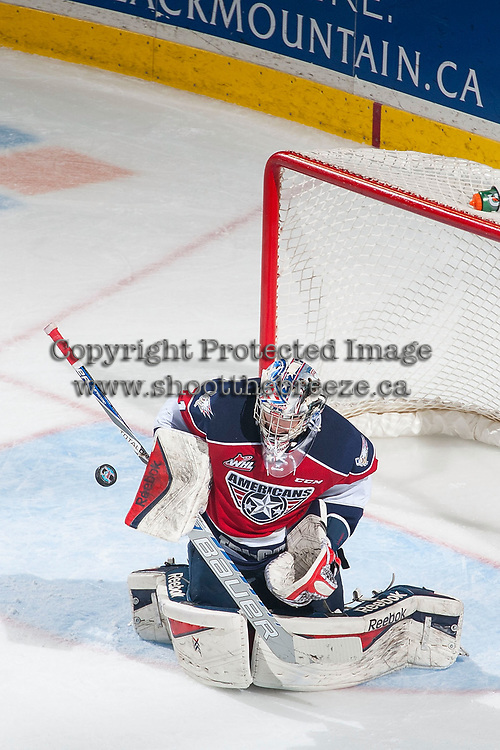 KELOWNA, CANADA - MARCH 27: Eric Comrie #1 of Tri-City Americans makes a save against the Kelowna Rockets on March 27, 2015 at Prospera Place in Kelowna, British Columbia, Canada.  (Photo by Marissa Baecker/Getty Images)  *** Local Caption *** Eric Comrie;