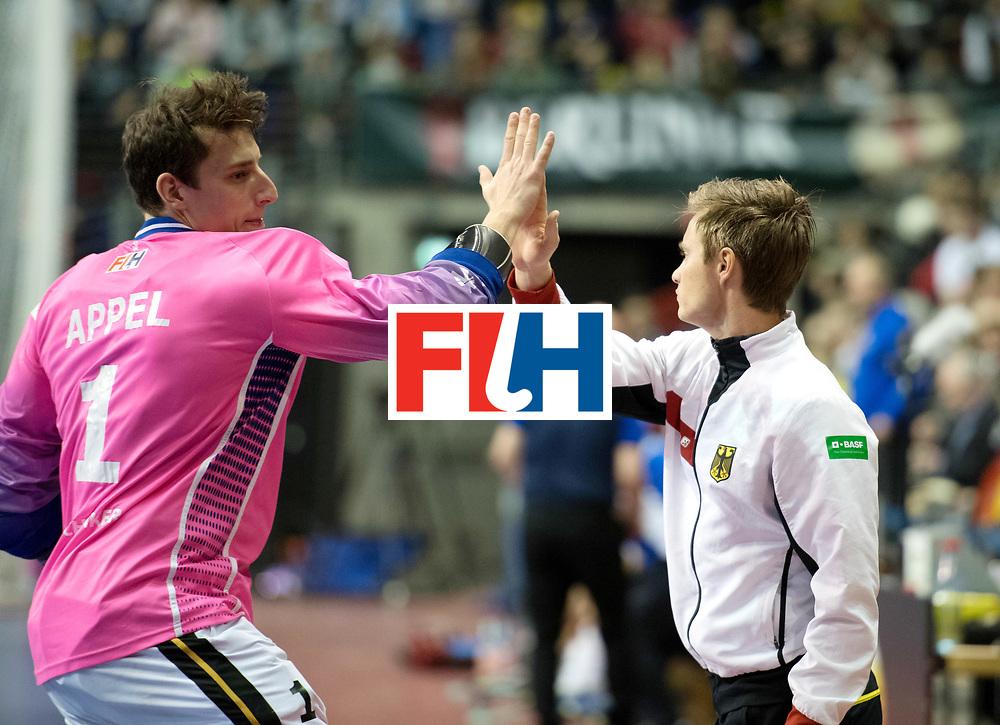 BERLIN - Indoor Hockey World Cup<br /> SF1 Germany - Iran<br /> foto: Line Up <br /> Mats Grambusch and Mark Appel (GK)  <br /> WORLDSPORTPICS COPYRIGHT FRANK UIJLENBROEK