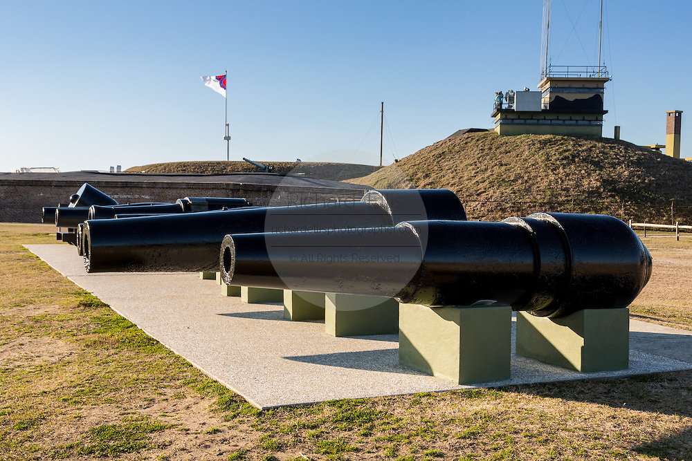 Civil War era canons on display outside Fort Moultrie in Sullivans Island, South Carolina.