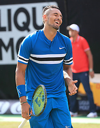 STUTTGART, June 16, 2018  Nick Kyrgios of Australia reacts during the quarterfinal with Feliciano Lopez of Spain at the ATP Mercedes Cup tennis tournament in Stuttgart, Germany, on June 15, 2018. Nick Kyrgios won 2-1. (Credit Image: © Philippe Ruiz/Xinhua via ZUMA Wire)