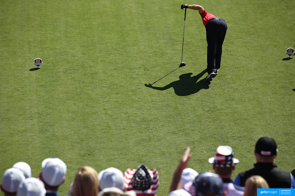 Ryder Cup 2016. Day One. J. B. Holmes of the United States places his ball before teeing off at the first hole in the Friday afternoon four-ball competition during the Ryder Cup at Hazeltine National Golf Club on September 30, 2016 in Chaska, Minnesota.  (Photo by Tim Clayton/Corbis via Getty Images)