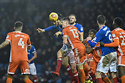 Portsmouth Defender, Christian Burgess (6) with a head at goal during the EFL Sky Bet League 1 match between Portsmouth and Shrewsbury Town at Fratton Park, Portsmouth, England on 27 January 2018. Photo by Adam Rivers.