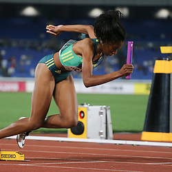 YOKOHAMA, JAPAN - MAY 11: Rose Xeyi of South Africa at the start of the women's 4x10mm relay during day 1 of the IAAF World Relays at Nissan Stadium on May 11, 2019 in Yokohama, Japan. (Photo by Roger Sedres/Gallo Images)