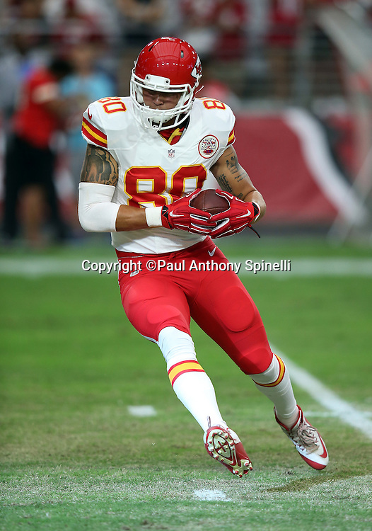 Kansas City Chiefs tight end James O'Shaughnessy (80) runs with the ball after catching a pass during the 2015 NFL preseason football game against the Arizona Cardinals on Saturday, Aug. 15, 2015 in Glendale, Ariz. The Chiefs won the game 34-19. (©Paul Anthony Spinelli)
