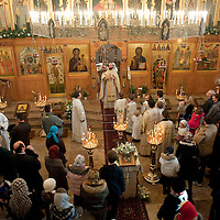 London January 7th Christmas Nativity Service at the London  Russian Orthodox  Cathedral of the Dormition of the Most Holy Mother of God and Holy Royal Martyrs. The Christian  Orthodox community celebrates Christmas today  7th of January  following the  Gregorian Calendar....***Agreed Fee's Apply To All Image Use***.Marco Secchi /Xianpix. tel +44 (0) 771 7298571. e-mail ms@msecchi.com .www.marcosecchi.com