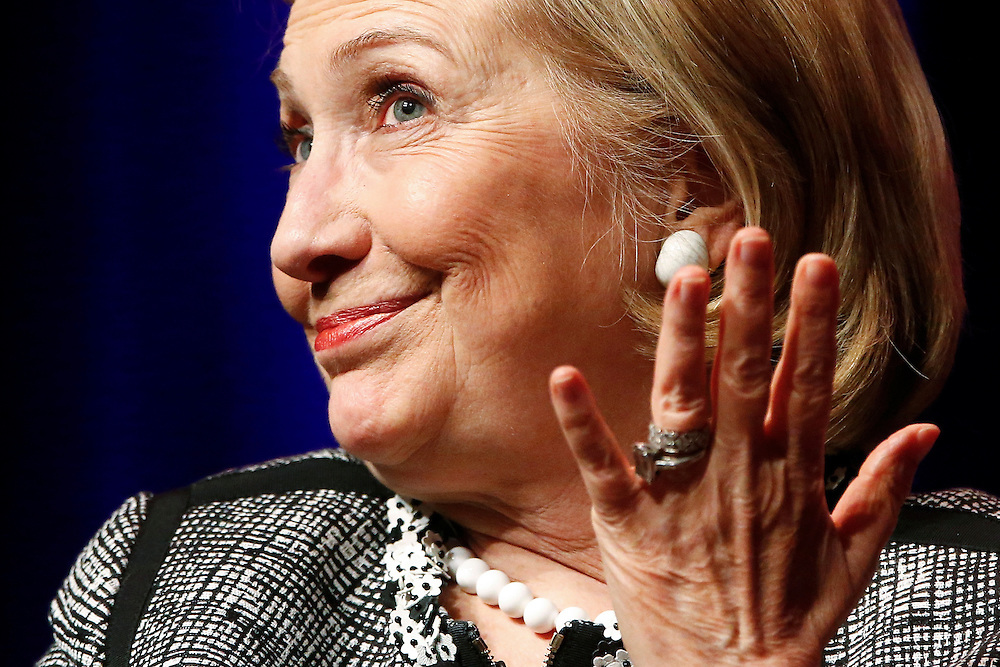 "Former U.S. Secretary of State Hillary Clinton reacts to a question as she discusses her new book ""Hard Choices: A Memoir"" at George Washington University on a book tour widely seen as a prelude to another run for the White House."