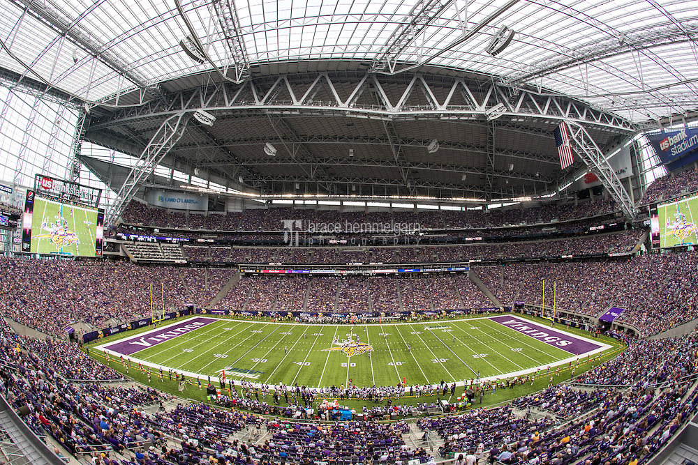 Aug 28, 2016; Minneapolis, MN, USA; A general view of U.S. Bank Stadium during a preseason game between the Minnesota Vikings and San Diego Chargers. The Vikings defeated the Chargers 23-10. Mandatory Credit: Brace Hemmelgarn-USA TODAY Sports