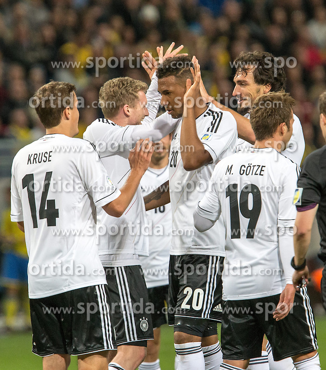 15.10.2013, Friends Arena, Stockholm, SWE, FIFA WM Qualifikation, Schweden vs Deutschland, Gruppe C, im Bild Germany 9 Andre Sch&uuml;rrle Schurrle score for Germany,, , Nyckelord , Keywords : football , fotboll , soccer , FIFA , World Cup , Qualification , Sweden , Sverige , Schweden , Germany , Tyskland , Deutschland jubel jublande glad gl&copy;dje lycka happy happiness celebration celebrates // during the FIFA World Cup Qualifier Group C Match between Sweden and Germany at the Friends Arena, Stockholm, Sweden on 2013/10/15. EXPA Pictures &copy; 2013, PhotoCredit: EXPA/ PicAgency Skycam/ Ted Malm<br /> <br /> ***** ATTENTION - OUT OF SWE *****