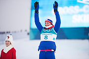 PYEONGCHANG-GUN, SOUTH KOREA - FEBRUARY 10: Marit Bjoergen of Norway celebrates her silver during the Ladies Cross Country Skiing 7.5km + 7.5km Skiathlon on day one of the PyeongChang 2018 Winter Olympic Games at Alpensia Cross-Country Centre on February 10, 2018 in Pyeongchang-gun, South Korea. Photo by Nils Petter Nilsson/Ombrello     <br /> ***BETALBILD***