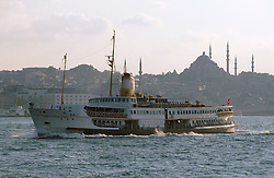 TURKEY ISTANBUL JUL02 - A ferry crosses the Bosphorus, with Old Istanbul and the Blue Mosque in the backrgound...jre/Photo by Jiri Rezac..© Jiri Rezac 2002..Contact: +44 (0) 7050 110 417.Mobile:   +44 (0) 7801 337 683.Office:    +44 (0) 20 8968 9635..Email:     jiri@jirirezac.com.Web:     www.jirirezac.com