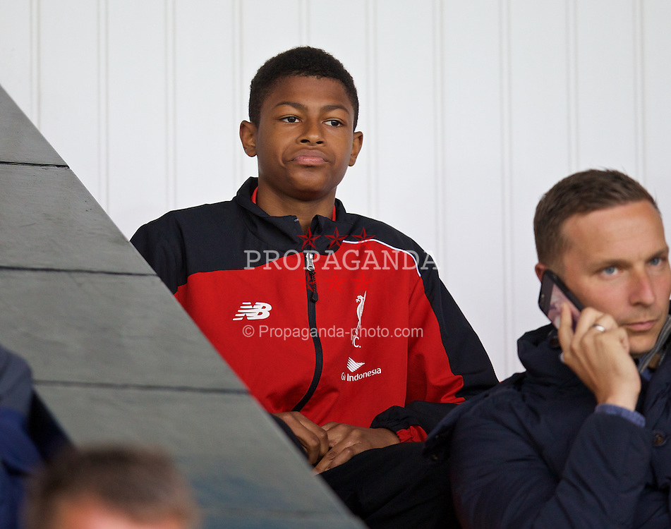 SOUTHPORT, ENGLAND - Wednesday, August 19, 2015: A young Liverpool academy player during the Under 21 FA Premier League match against Everton at Haig Avenue. (Pic by David Rawcliffe/Propaganda)