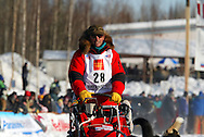 3/4/2007:  Willow, Alaska -  Veteran Doug Swingley of Lincoln, MT heads out in the 35th Iditarod Sled Dog Race.  The four time Iditarod Champion from Lincoln Montana scratched due to injuries suffered in a fall.