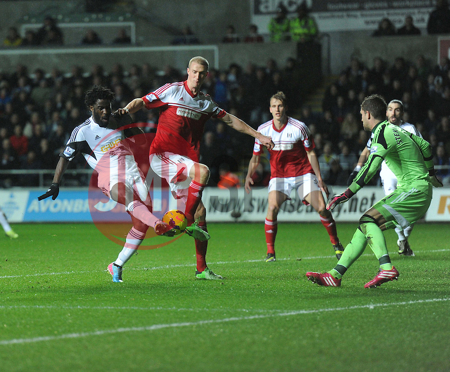 Swansea City's Wilfried Bony shoots at goal. - Photo mandatory by-line: Alex James/JMP - Tel: Mobile: 07966 386802 28/01/2014 - SPORT - FOOTBALL - Liberty Stadium - Swansea - Swansea City v Fulham - Barclays Premier League