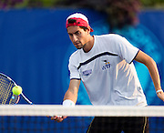 Amir Weintraub of the Springfield Lasers volleys a ball over the net during a match against the Washington Kastles at Mediacom Stadium on July 11, 2012 in Springfield, Missouri. (David Welker/www.Turfimages.com).