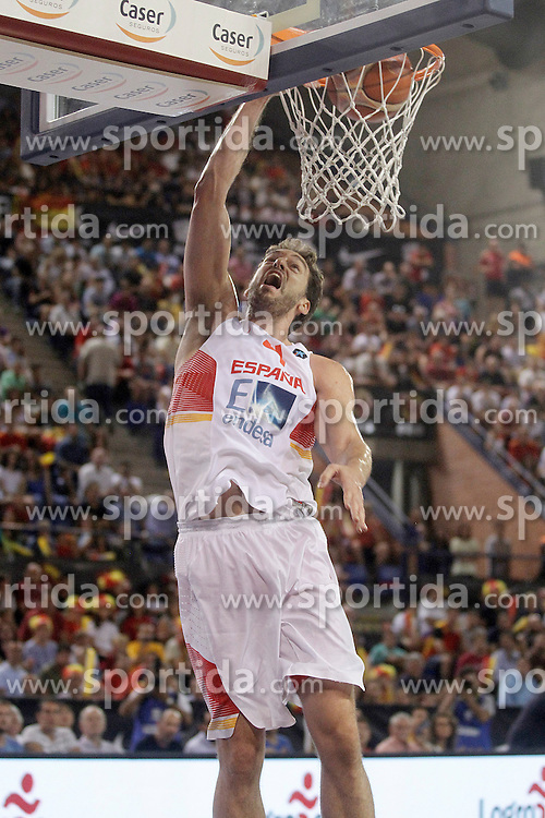 25.08.2015, Palacio de los Deportes de La Rioja, Logrono, ESP, Basketball Testspiel, Spanien vs Mazedonien, im Bild Spain's Pau Gasol // during a International Basketball Friendly Match between Spain and Macedonia at the Palacio de los Deportes de La Rioja in Logrono, Spain on 2015/08/25. EXPA Pictures &copy; 2015, PhotoCredit: EXPA/ Alterphotos/ Acero<br /> <br /> *****ATTENTION - OUT of ESP, SUI*****