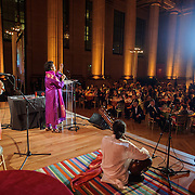 "WASHINGTON, DC - October 17th, 2013 - Chandrika Tandon performs at the ""Some Enchanted Evening"" gala at at the Andrew W. Mellon Auditorium. The gala is a celebration for  ""Yoga: The Art of Transformation,"" the world's first exhibition on the art of yoga at the Arthur M. Sackler Gallery. (Photo by Kyle Gustafson)"