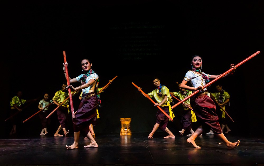 Robam Bok Leak (Gum-Lacquer pounding dance); the dance was originally performed at traditional wedding ceremonies. Traditional dance show presented by Cambodian Living Arts, National Museum of Cambodia, Phnom Penh, Cambodia.