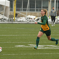 3rd year midfielder Nikita Senko (9) of the Regina Cougars in action during the Women's Soccer  road trip to Saskatoon on October 9 at Griffiths Stadium. Credit: Arthur Ward/Arthur Images