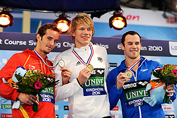 25.11.2010, Pieter van den Hoogenband Zwemstadion, Eindhoven, NED, Kurzbahn Schwimm EM, im Bild ..Men's 100m Freestyle S8-S10.David Julian LEVECQ VIVES ESP Silver, Lucas LUDWIG Ger Gold, Mike VAN DER ZANDEN NED Bronze. // Eindhoven 25/11/2010 .European Short Course Swimming Championships, EXPA/ InsideFoto/ Staccioli+++++ ATTENTION - FOR AUSTRIA/AUT, SLOVENIA/SLO, SERBIA/SRB an CROATIA/CRO CLIENT ONLY +++++ / SPORTIDA