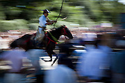 KAMAKURA, JAPAN, 16 SEPTEMBER -  The Horseback Archery -Yabusame, a mounted traditional Japanese archery - is an automn festival of in Tsurugaoka Hachimangu-.  In april and september, it is performed along the main approach to the shrine. An archer, wearing traditional 13th Century clothing, on a running horse shoots three arrows successively at three wooden targets.  Tsurugaoka Hachimangu  the most important temple of Kamakura was founded 1063 and inlarge by Minato Yorimoto, the first Shogun of Kamakura period - september 2012