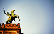 Palermo. Bronze statue by Rutelli on top of the Politeama Garibaldi theatre, Palermo, Sicily, Italy