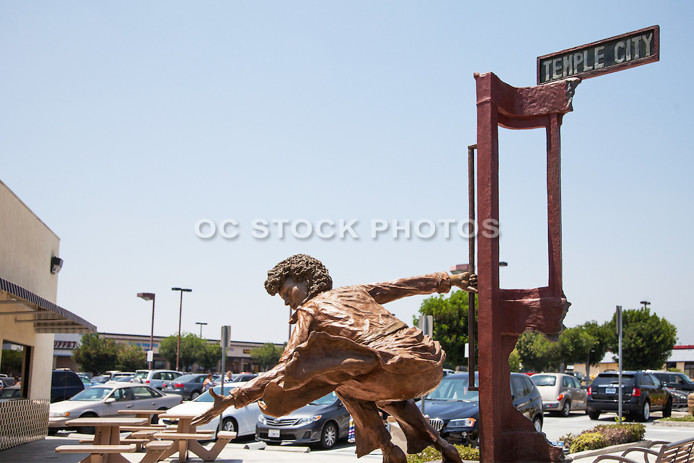Temple City's Rosemead Blvd Sculpture of a Woman Riding a Streetcar
