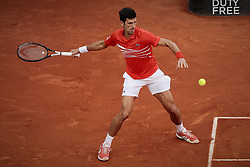 May 12, 2019 - Madrid, Madrid, Spain - Novak Djokovic from Serbia seen in action during the Mutua Madrid Open Masters final match against Stefanos Tsitsipas from Greece on day eight at Caja Magica in Madrid..Novak Djokovic beats Stefanos Tsitsipas. (Credit Image: © Legan P. Mace/SOPA Images via ZUMA Wire)